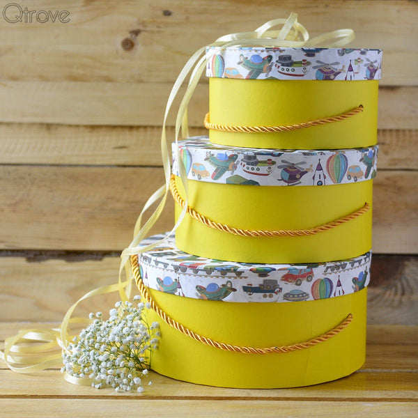 Kiddie Gift Box Round (Yellow) (Set of 3)