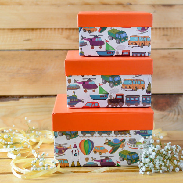 Kiddie Gift Box Square (Orange) (Set of 3)
