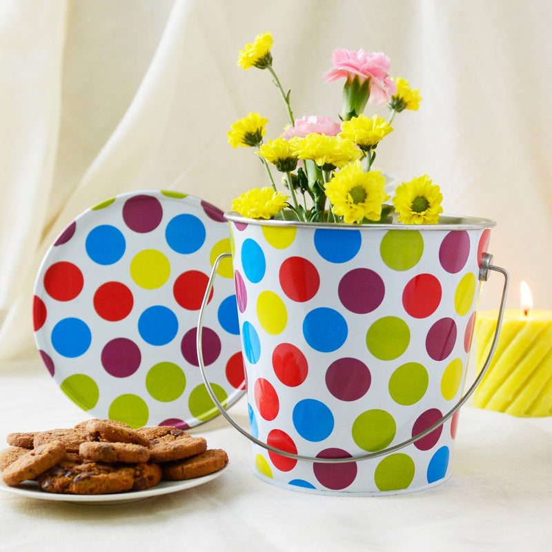 Polka Dotted Bucket Multipurpose Container