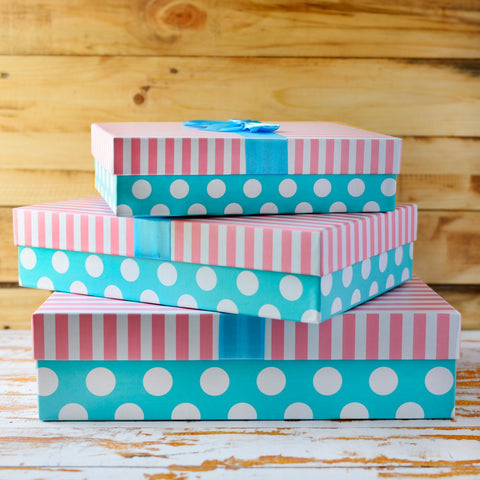 Rectangural Box (Pink and Blue) (Set of 3)