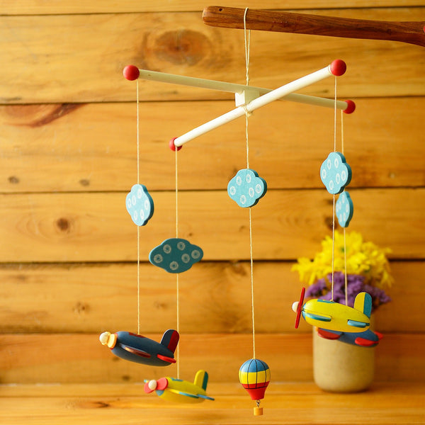 Wooden Planes And Hot Air Balloons Cradle Hanging at Qtrove