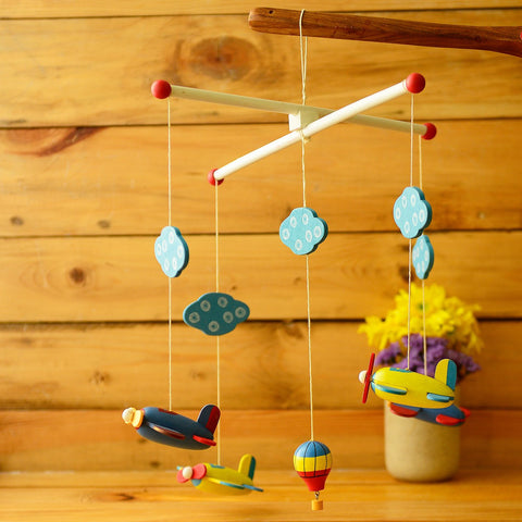 Wooden Planes And Hot Air Balloons Cradle Hanging