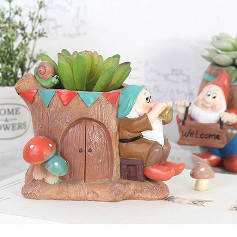 Dwarf Playing Music Resin Succulent Pot
