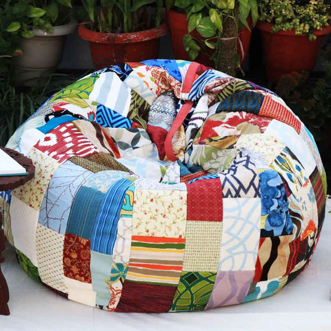 Earthy Patchwork Beanbag