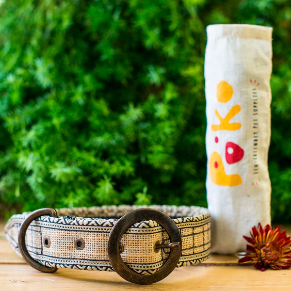 Eco-Friendly Jute Dog Collar - Natural Checks at Qtrove