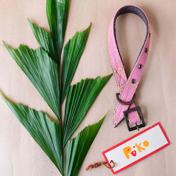 Eco-Friendly Jute Dog Collar Pink - Small at Qtrove