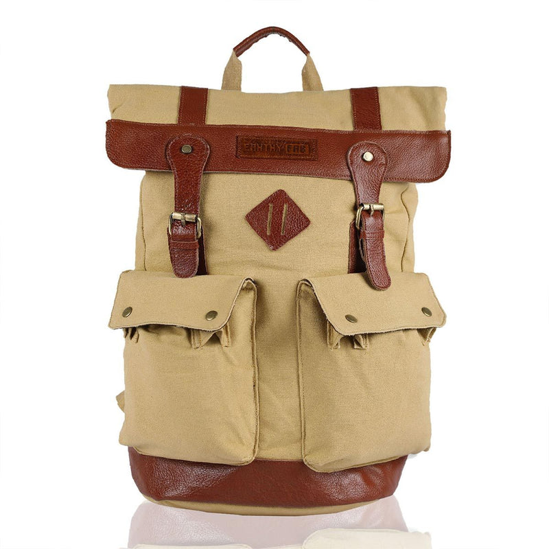 Eco-Friendly Leather Laptop Backpack (Gold)