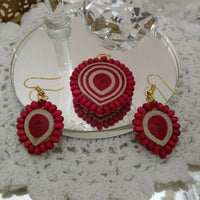 Eco-Chic Paper Earring And Pendant in Cream And Red
