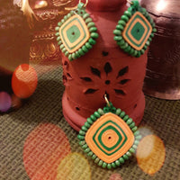 Eco-Chic Paper Earring And Pendant in Green And Yellow