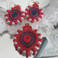 Eco-Chic Paper Earring And Pendant in Pink And Blue