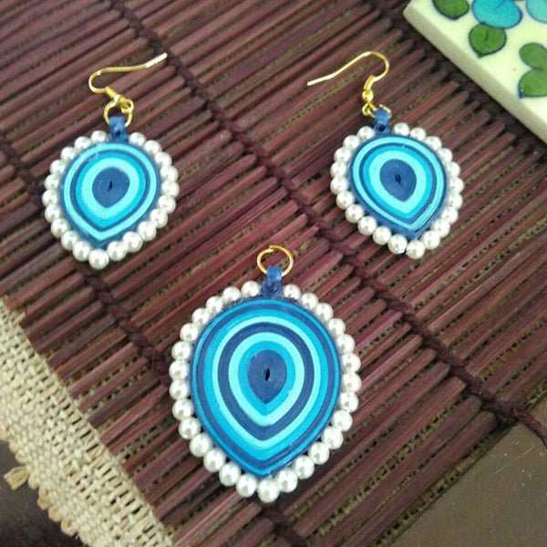 Eco-Chic Paper Earring And Pendant in Shades of Blue at Qtrove