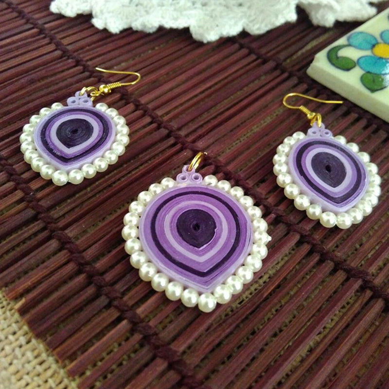 Eco-Chic Paper Earring And Pendant in Shades of Purple