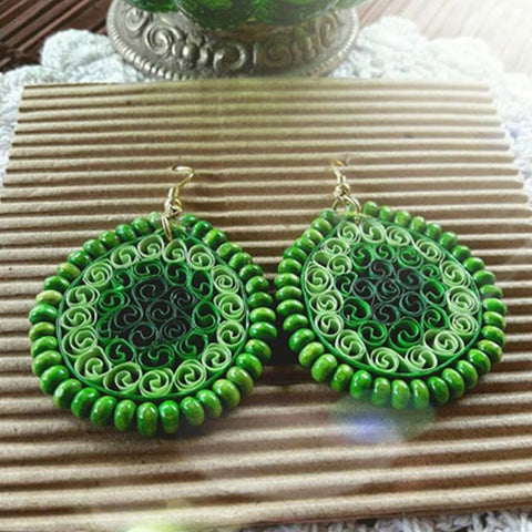 Eco-Chic Paper Earring in Green Shades