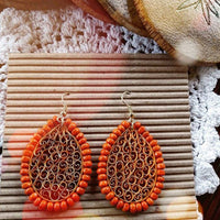 Eco-Chic Paper Earring in Orange And Gold