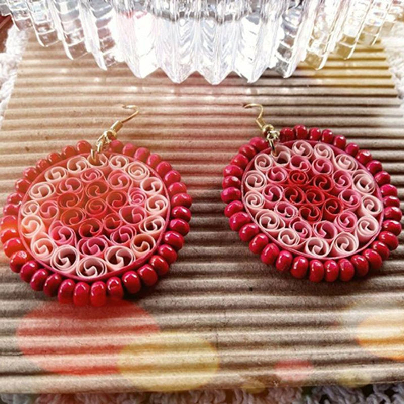 Eco-Chic Paper Earring in Shades of Pink