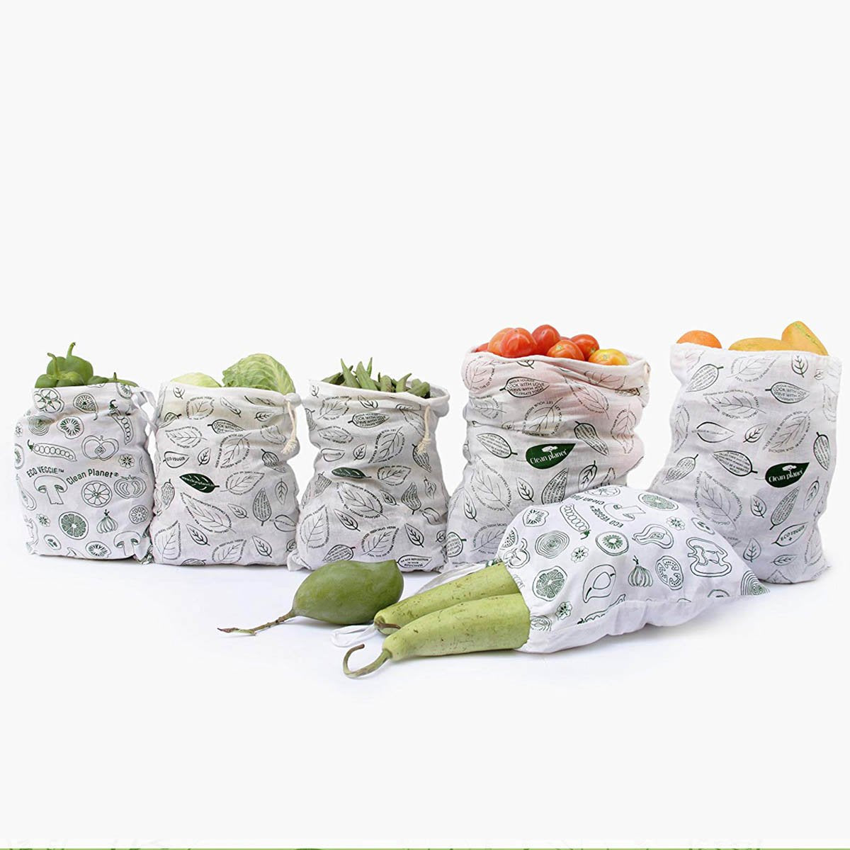 Eco Veggie Fridge Bags  (Set of 6)