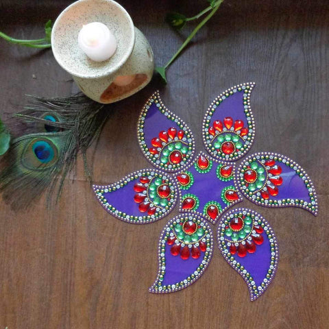 Elegant Mango Flower Rangoli (Purple)