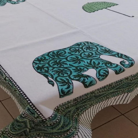 Elephant With Umbrella Design Green Colour Hand Block Print  100% Cotton  4 Seater Table Cover