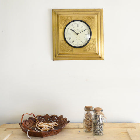 Square Brass Wall Clock