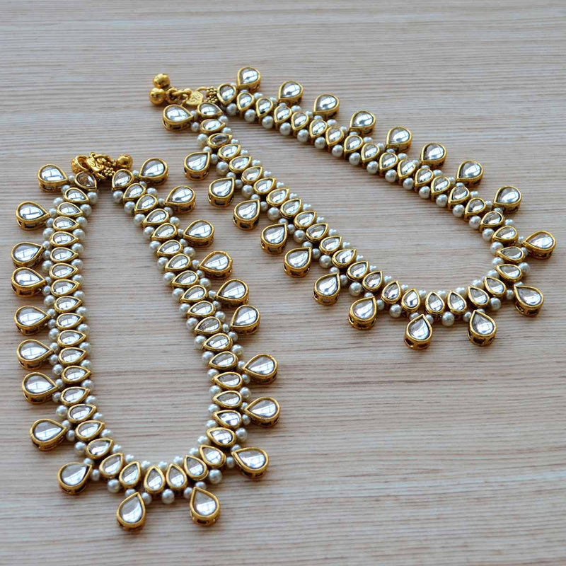 Ethic Kundan and Pearl Triple Layered Payal