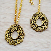 Ethnic Filigree Work Maang Tikka and Necklace Set Accessories Gold Festival Jewelry