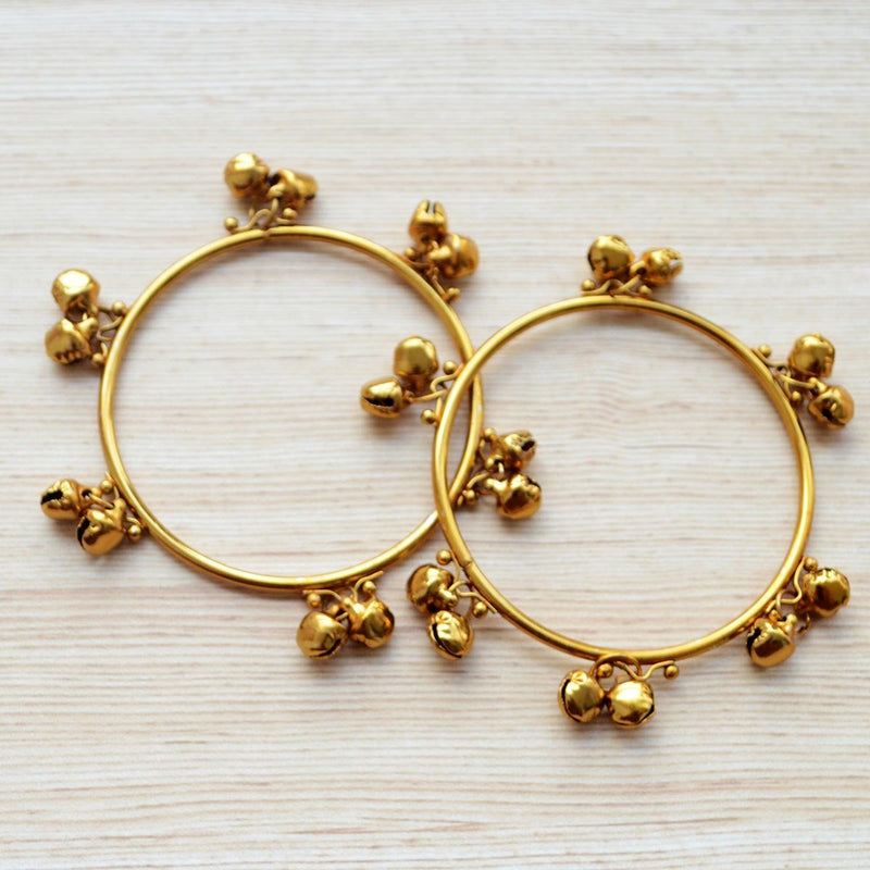 Ethnic Gold Ghungroo Bangle Pair