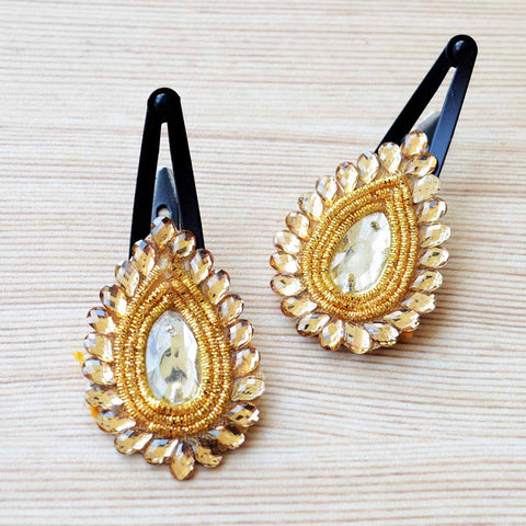3b031e215 ... Ethnic Gold Hair Clips Gift Set For Girls Festive Wedding Accessories