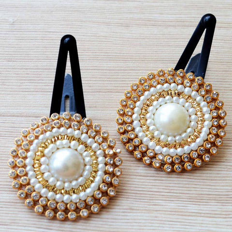 Ethnic Gold Pearl Stone Flower Hair Clip Pair