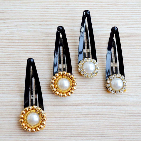 Ethnic Hair Clips For Toddler Girls (Gold & Silver) (Set of 4)