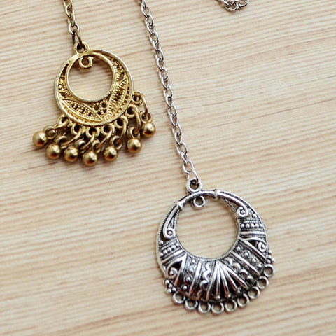 Vintage Style Tribal Boho Metallic Maang Tikka (Set of 2) (Silver & Gold)