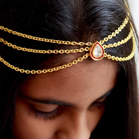 Ethnic Hair Chain, Matha Patti , Wedding Jewelry Red and Gold