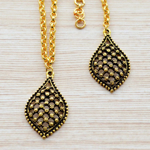 Ethnic Jaali Work Lattice Maang Tikka and Necklace Set Gold Festival Jewelry