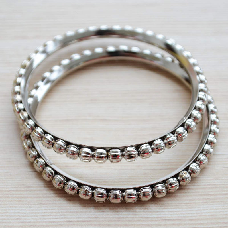 Ethnic Jewelry Silver Plated Ball Design Bangle Pair Set
