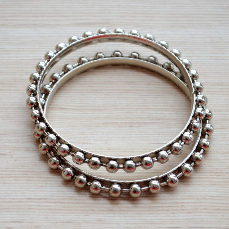 Ethnic Jewelry Silver Plated Dotted Bangle Pair Set