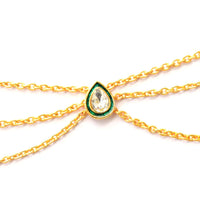 Ethnic Jewelry Tri Strand Matha Patti Wedding Jewelry Green and Gold