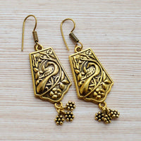 Ethnic Kalamkari Gold Plated Statement Drop Earrings