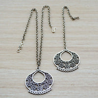 Ethnic Kashmiri Style Floral Maang Tikka and Necklace Set Silver Festival Jewelry