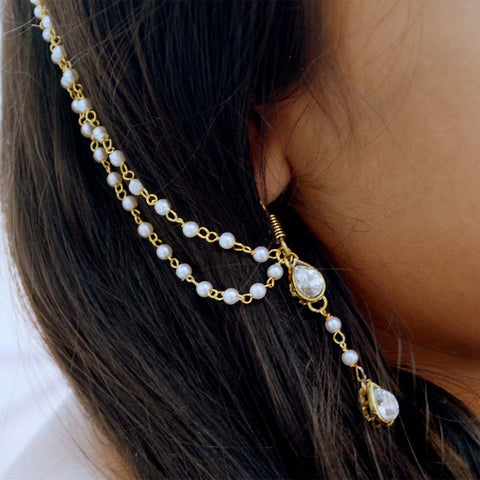 Ethnic Pearls Earring & Kaan Chain