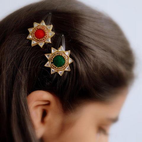 Ethnic Red And Green Gold Kundan Stone Hair Accessories