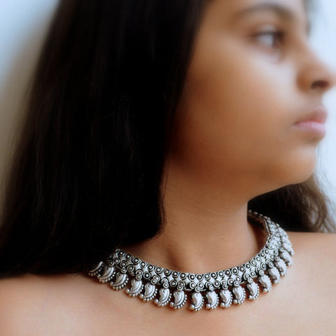 Ethnic Silver Choker Necklace, Paisley (Traditional Kalamkari Style)