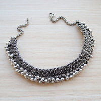 Ethnic Silver Choker Necklace with Ghungroo