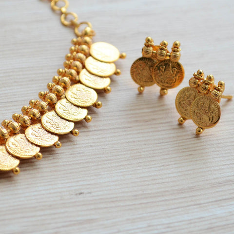 Ethnic South Indian Coin Gold Kasumala Necklace Set Temple Jewellery