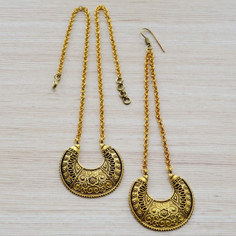 Ethnic Traditional Kathiawadi or Gujarati Style Maang Tikka and Necklace Set Gold Festival Jewelry