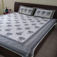 Ethnic Tree Design Black ColourKing Size Bedsheet  (2 Pillow Cover)