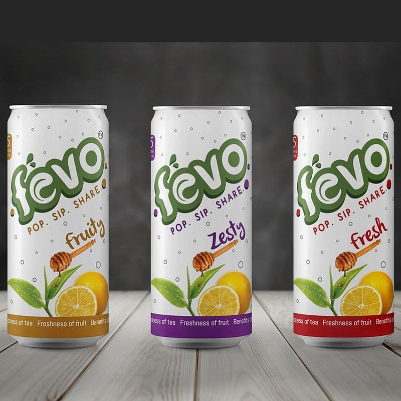 FEVO Combo Pack: All Natural, Refreshing Fizzy Drink (Pack Of 6 Cans Fresh, Fruity And Zesty)