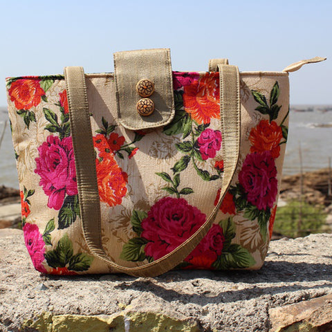 Handcrafted Floral Print Flap Shoulder Bag