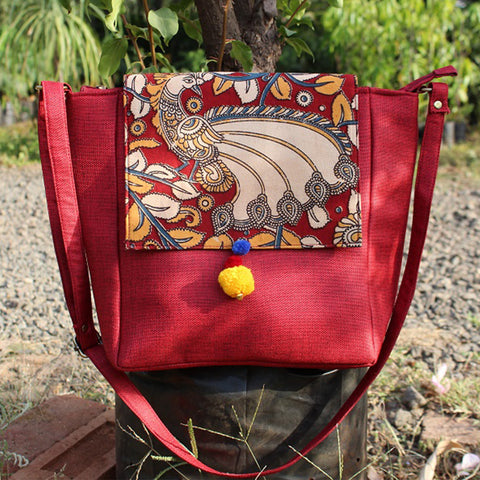 Flap Kalamkari Messenger Bag (Maroon)