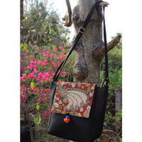 Flap Kalamkari Messenger Bag (Black)
