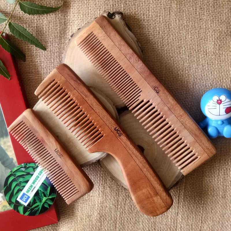 Family Set Of Neem Wood Comb (3 Hair Combs)