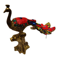 Fancy Brass Peacock Statue With Stonework (Home Decor)
